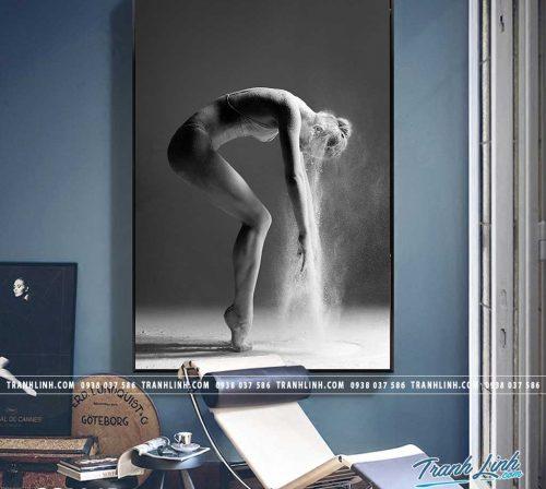 Bo tranh Canvas treo tuong trang tri phong khach co gai CG0265