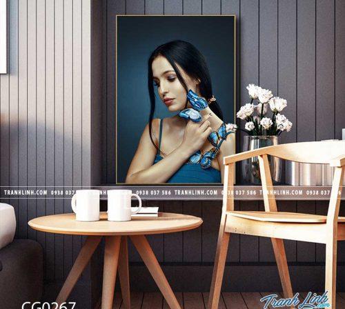 Bo tranh Canvas treo tuong trang tri phong khach co gai CG0267