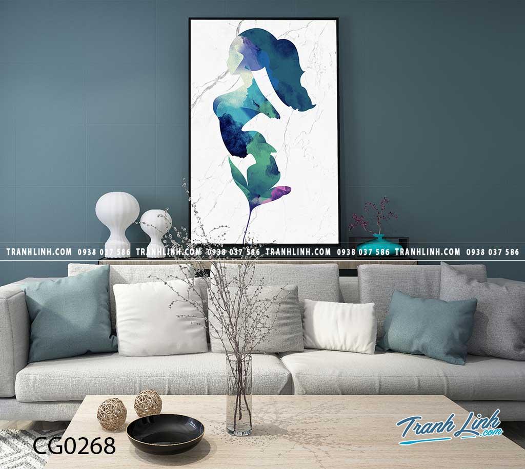 Bo tranh Canvas treo tuong trang tri phong khach co gai CG0268