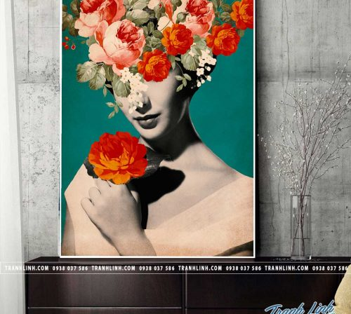 Bo tranh Canvas treo tuong trang tri phong khach co gai CG0269