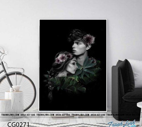 Bo tranh Canvas treo tuong trang tri phong khach co gai CG0271
