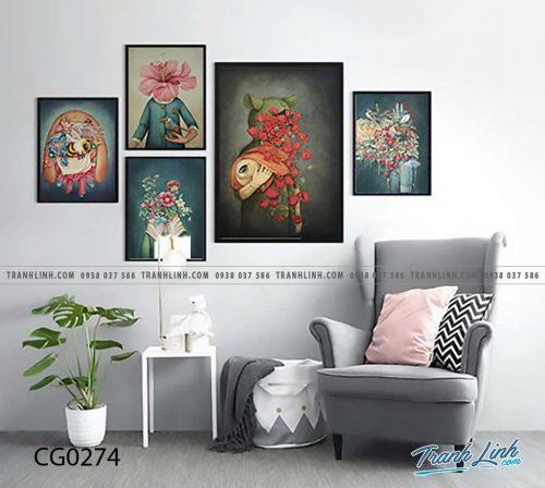 Bo tranh Canvas treo tuong trang tri phong khach co gai CG0274