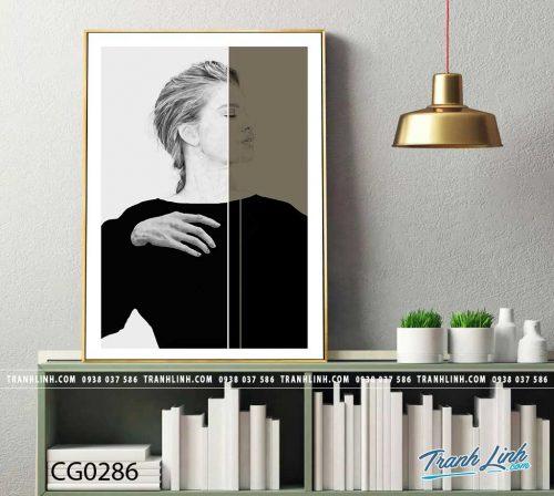 Bo tranh Canvas treo tuong trang tri phong khach co gai CG0286