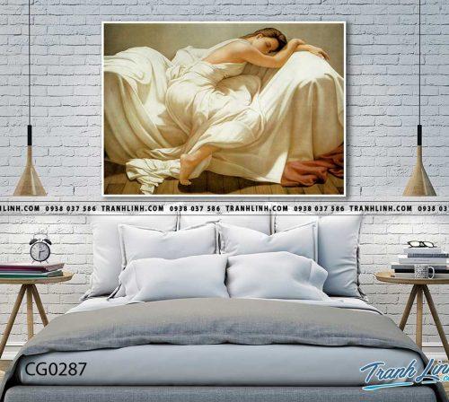 Bo tranh Canvas treo tuong trang tri phong khach co gai CG0287