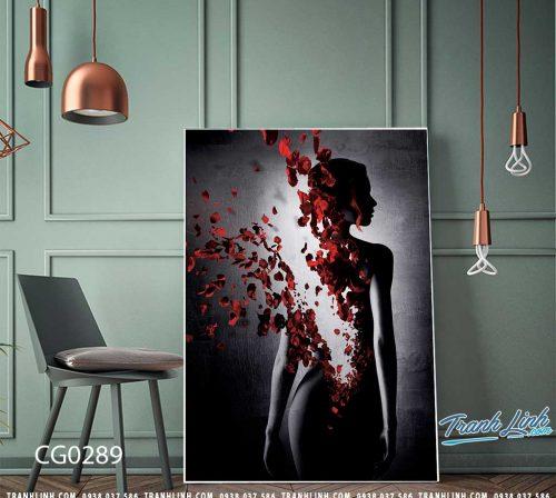 Bo tranh Canvas treo tuong trang tri phong khach co gai CG0289