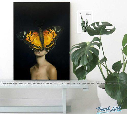 Bo tranh Canvas treo tuong trang tri phong khach co gai CG0291