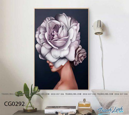 Bo tranh Canvas treo tuong trang tri phong khach co gai CG0292
