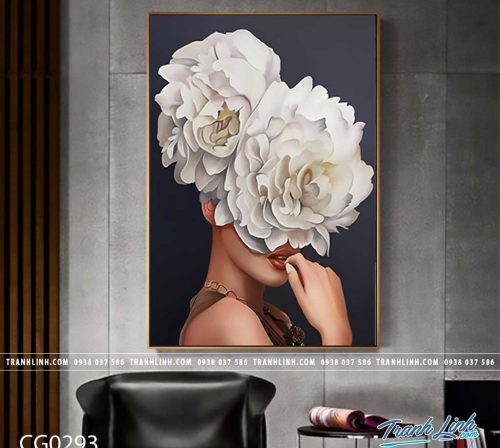 Bo tranh Canvas treo tuong trang tri phong khach co gai CG0293