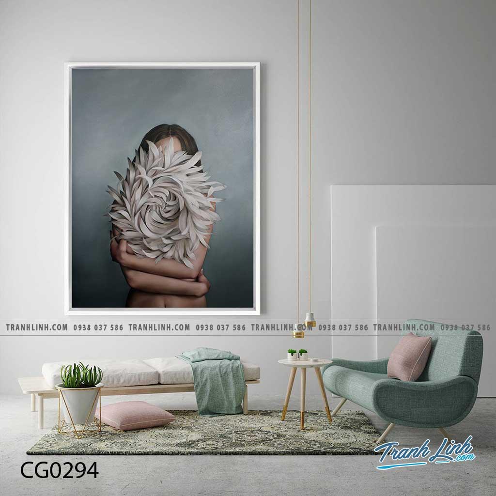 Bo tranh Canvas treo tuong trang tri phong khach co gai CG0294