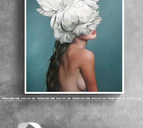 Bo tranh Canvas treo tuong trang tri phong khach co gai CG0296