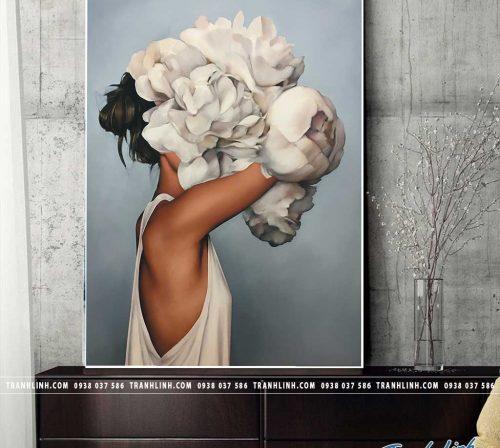 Bo tranh Canvas treo tuong trang tri phong khach co gai CG0297
