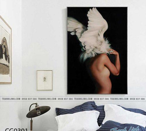 Bo tranh Canvas treo tuong trang tri phong khach co gai CG0301