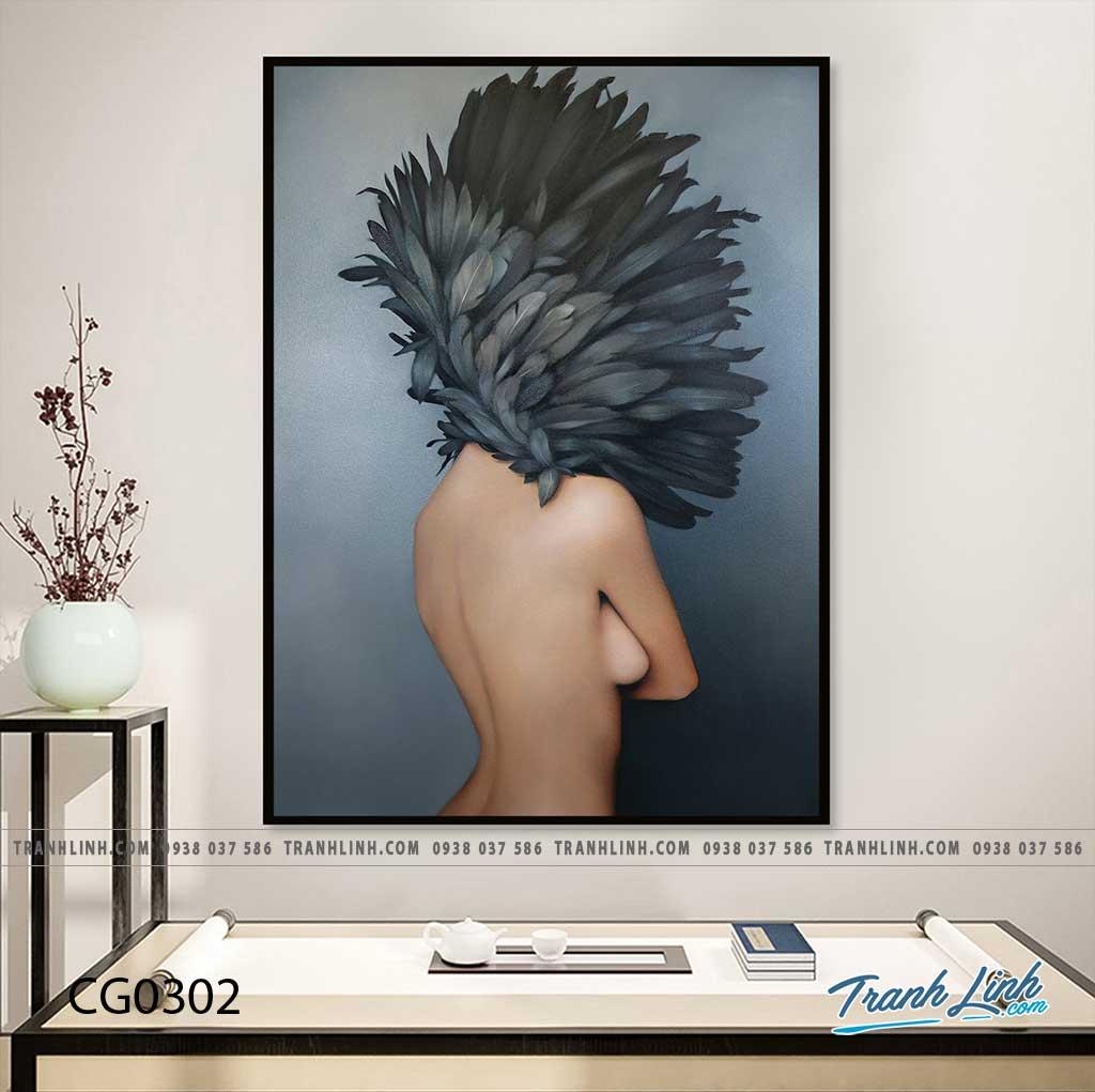 Bo tranh Canvas treo tuong trang tri phong khach co gai CG0302