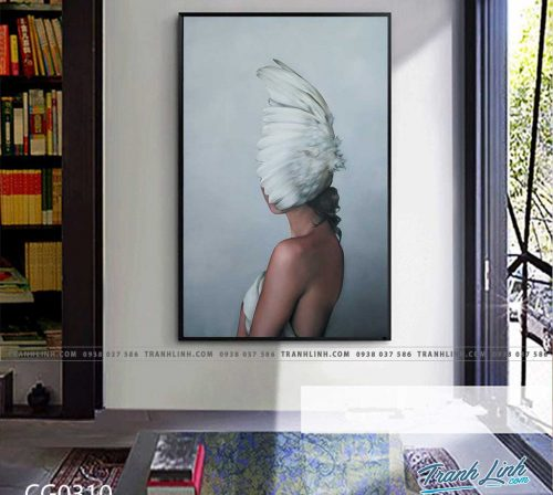 Bo tranh Canvas treo tuong trang tri phong khach co gai CG0310