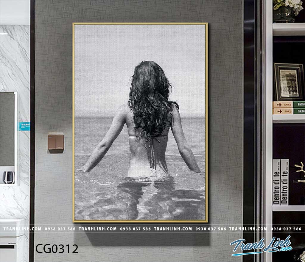 Bo tranh Canvas treo tuong trang tri phong khach co gai CG0312