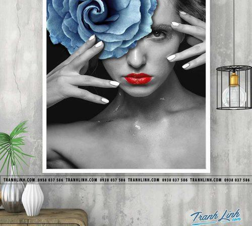 Bo tranh Canvas treo tuong trang tri phong khach co gai CG0314