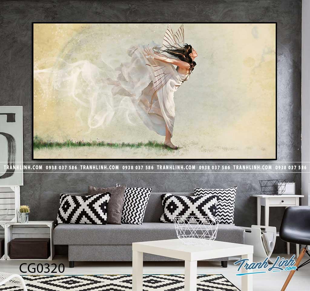 Bo tranh Canvas treo tuong trang tri phong khach co gai CG0320