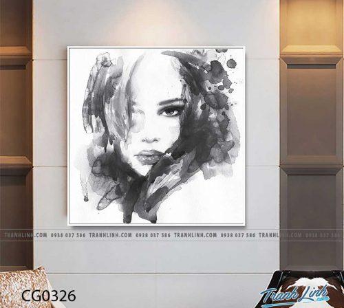 Bo tranh Canvas treo tuong trang tri phong khach co gai CG0326
