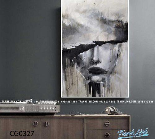 Bo tranh Canvas treo tuong trang tri phong khach co gai CG0327