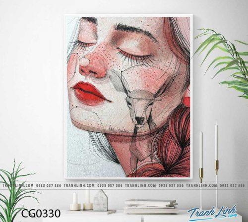 Bo tranh Canvas treo tuong trang tri phong khach co gai CG0330