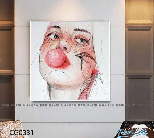 Bo tranh Canvas treo tuong trang tri phong khach co gai CG0331
