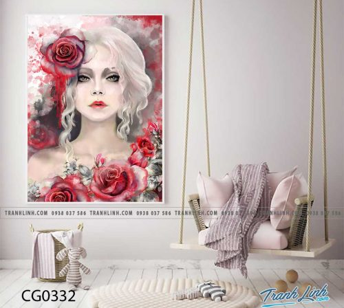 Bo tranh Canvas treo tuong trang tri phong khach co gai CG0332