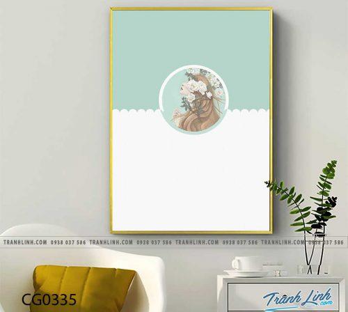 Bo tranh Canvas treo tuong trang tri phong khach co gai CG0335