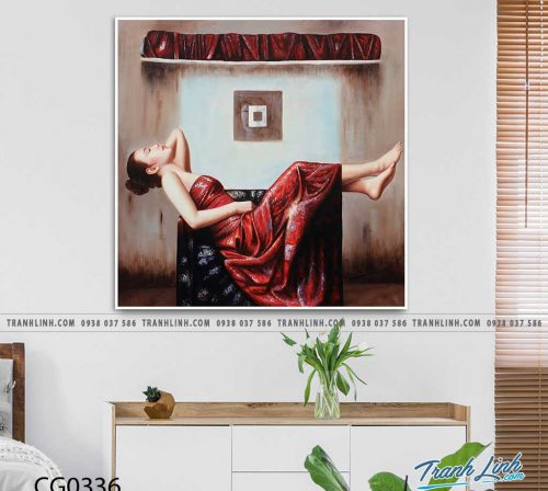 Bo tranh Canvas treo tuong trang tri phong khach co gai CG0336