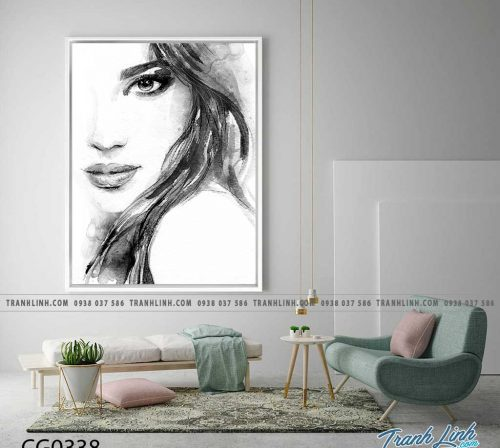 Bo tranh Canvas treo tuong trang tri phong khach co gai CG0338