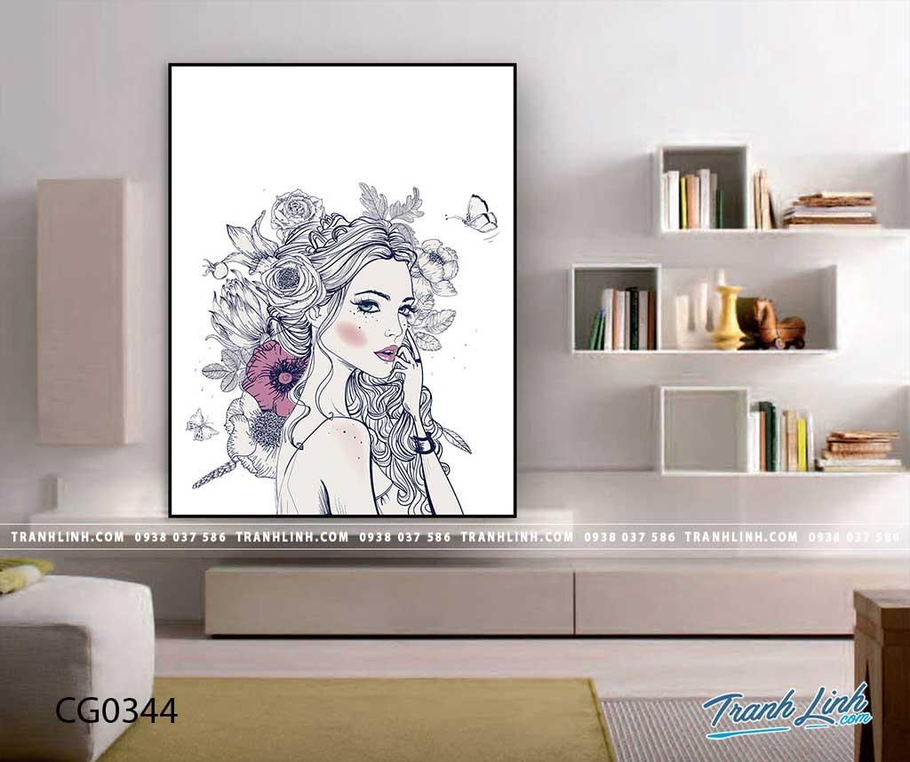 Bo tranh Canvas treo tuong trang tri phong khach co gai CG0344