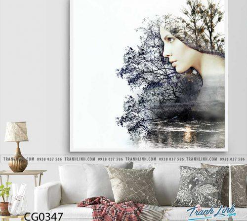 Bo tranh Canvas treo tuong trang tri phong khach co gai CG0347