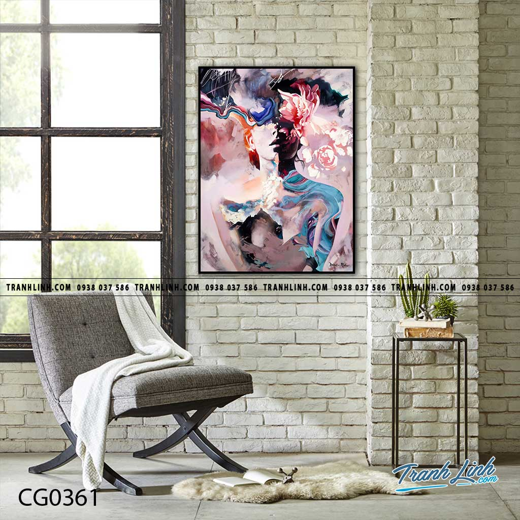 Bo tranh Canvas treo tuong trang tri phong khach co gai CG0361
