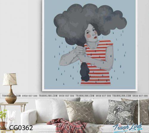 Bo tranh Canvas treo tuong trang tri phong khach co gai CG0362