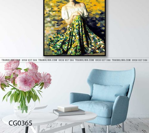 Bo tranh Canvas treo tuong trang tri phong khach co gai CG0365