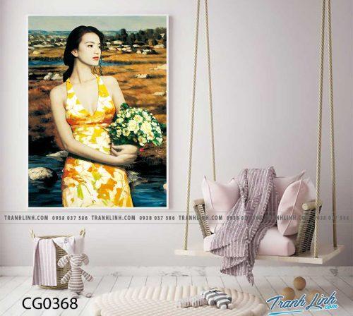 Bo tranh Canvas treo tuong trang tri phong khach co gai CG0368
