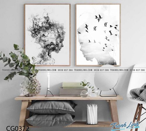Bo tranh Canvas treo tuong trang tri phong khach co gai CG0372