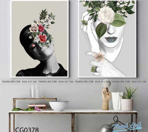 Bo tranh Canvas treo tuong trang tri phong khach co gai CG0378