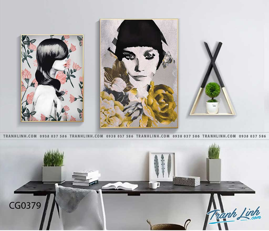 Bo tranh Canvas treo tuong trang tri phong khach co gai CG0379