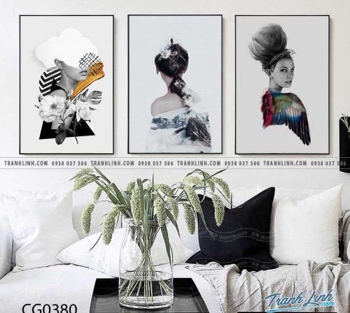 Bo tranh Canvas treo tuong trang tri phong khach co gai CG0380
