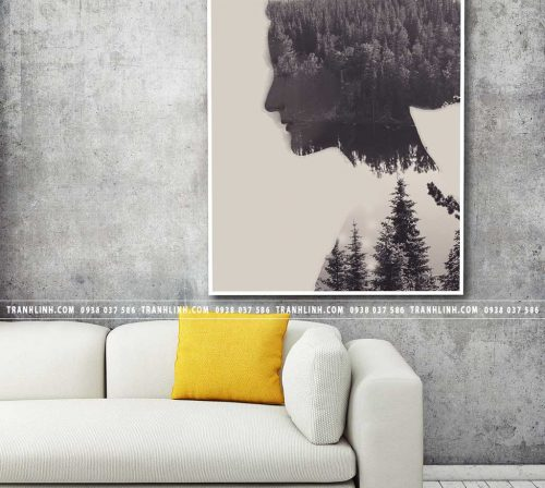 Bo tranh Canvas treo tuong trang tri phong khach co gai CG0386