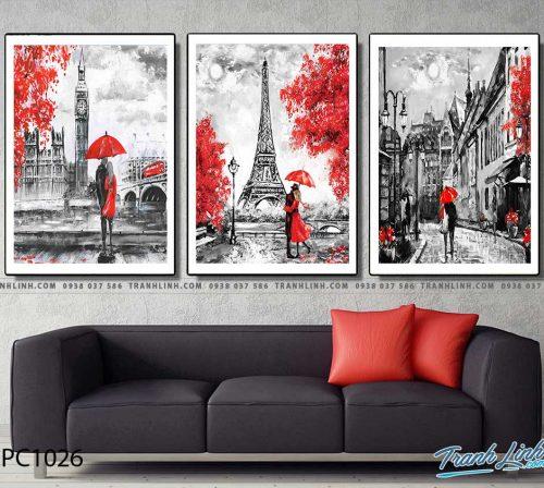 Bo tranh Canvas treo tuong trang tri phong khach phong canh PC1026