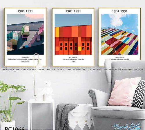Bo tranh Canvas treo tuong trang tri phong khach phong canh PC1068
