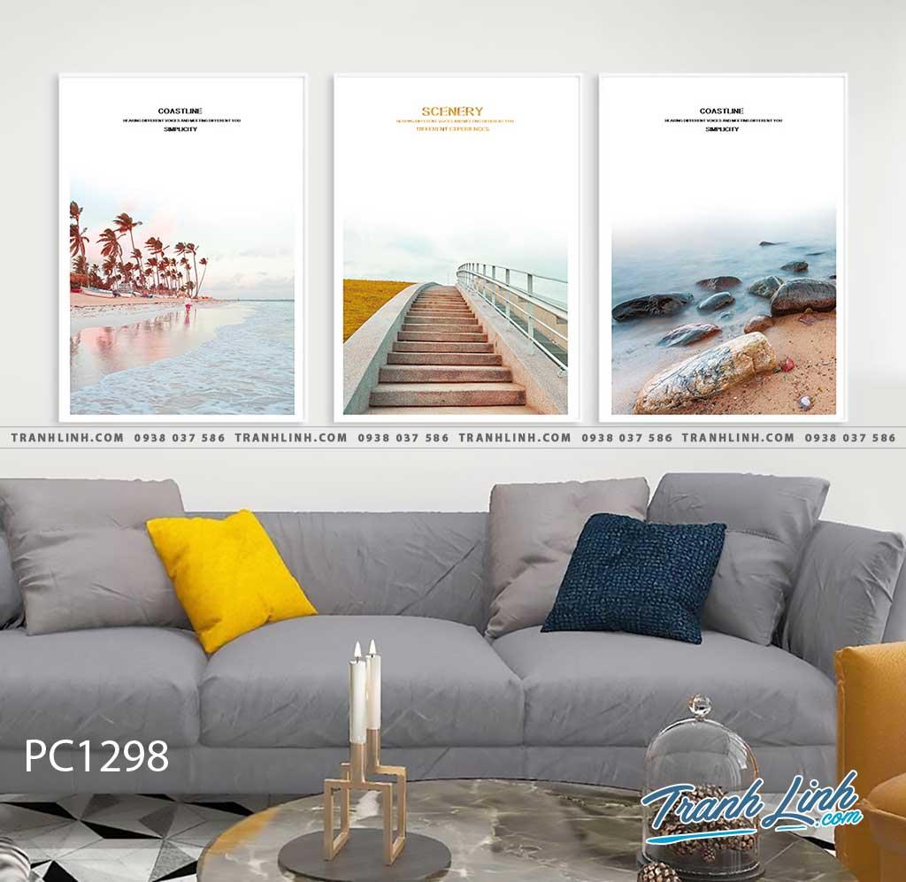 Bo tranh Canvas treo tuong trang tri phong khach phong canh PC1298