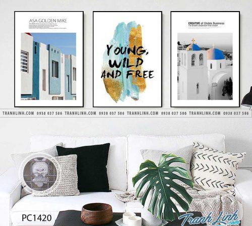 Bo tranh Canvas treo tuong trang tri phong khach phong canh PC1420