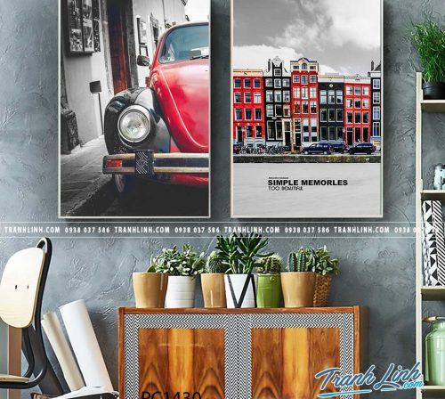 Bo tranh Canvas treo tuong trang tri phong khach phong canh PC1430