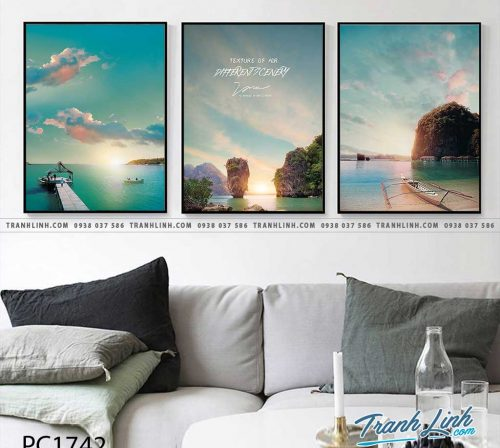 Bo tranh Canvas treo tuong trang tri phong khach phong canh PC1742