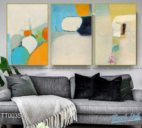 Bo tranh Canvas treo tuong trang tri phong khach truu tuong TT0035