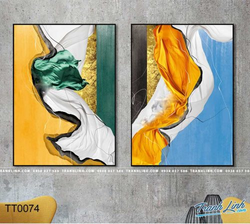 Bo tranh Canvas treo tuong trang tri phong khach truu tuong TT0074