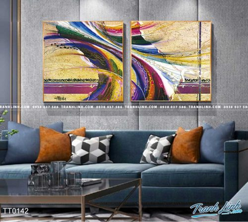 Bo tranh Canvas treo tuong trang tri phong khach truu tuong TT0142