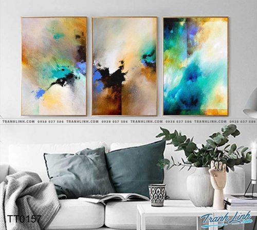 Bo tranh Canvas treo tuong trang tri phong khach truu tuong TT0157
